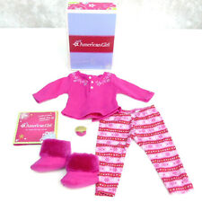 American Girl Doll FAIR ISLE PAJAMAS SLIPPERS & CHARM Thermal Christmas PJS BOX!