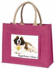 Personalised Name St Bernard Large Pink Shopping Bag Christmas Pr, AD-SBE5DA2BLP