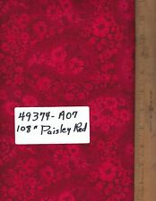 "49374-A07, 108"" EXTRA WIDE QUILT BACKING, BY THE YARD,  PAISLEY - RED"