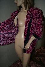 Pink - dunkelblau gemusterte Bluse*Blusenjacke*Blazer apart seidenglatt nw 48