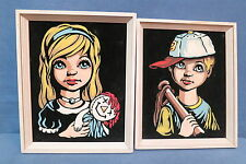Vintage Velvet Pictures of a Boy w baseball bat & glove Girl w Raggedy Ann Doll