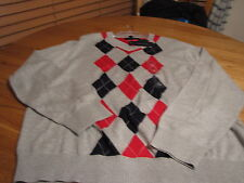 Men's Tommy Hilfiger long sleeve sweater pull over grey pattern NEW L $79.50 LG