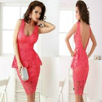 Sz 10 12 Red Lace Sleeveless Peplum V-neck Evening Party Sexy Cocktail SlimDress