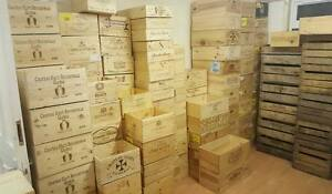 3 x ASSORTED MIXED SIZE FRENCH ITALIAN WOODEN WINE PORT CHAMPAGNE CRATE BOXES)