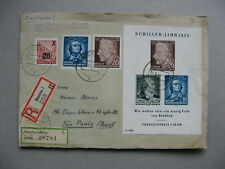 GERMANY DDR, R-cover 1955, ao S/S Friedrich Schiller poet