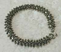 "Vtg RICCIO Solid Sterling Silver Art Deco style bead 7.25 "" BRACELET 925 S Hook"