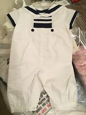 Baby Boys Sailor Traditional Spanish Style Romany White Romper Suit 100% Cotton