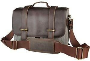 Vantage Greenwich Fototasche aus Büffel-Leder mit Canvas (Modell S) grau/braun