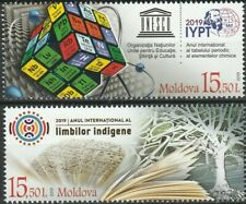 2 stamps Moldova 2019 UN Periodic Table of Elements & Indigenous Languages MNH