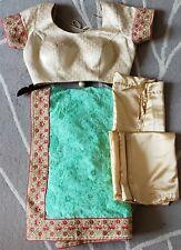 Green Indian Saree + Blouse + Underskirt