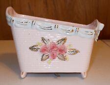 Vintage Ceramic Pink Musical Baby Crib Planter National Potteries Brahms Lullaby