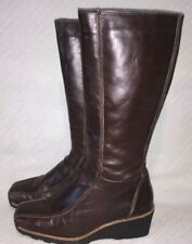 Aldo Firodeli Distressed Solid Brown Leather Knee High Wedge Boot sz EUR38 US7.5