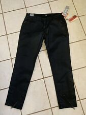 David Kahn NWT! Black Waxed Faux Leather Siouxsie Ankle Moto Stretch Jeans 29