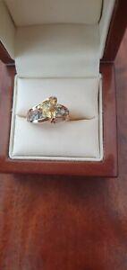 Stunning lemon and blue topaz  designer ring QVC size K  9ct hallmarked