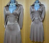 Karen Millen Dusty Pink Jersey Grecian Style Military Shirt Dress size UK 12 /40