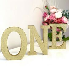 ONE Wooden Gold Glitter Letter Signs - MDF Freestanding or Hanging -1st Birthday