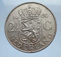 1960 Netherlands Kingdom Queen JULIANA 2 1/2 Gulden Authentic Silver Coin i69471