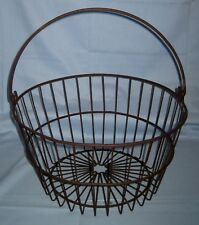 "VTG/Antique/Primitive Barn Find Wire Egg Gathering Basket Farm 14"" x 7 3/8""!"