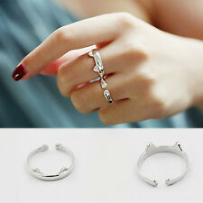 Cute Women Girl Silver Plated Cat Open Cuff Knuckle Finger Rings Jewelry New