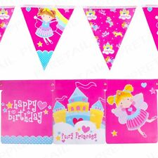 10x HAPPY BIRTHDAY BUNTING 2M LONG Pink Girls Hanging Party Wall Decorations Set