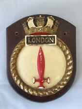 HMS London Naval Frigate Plaster on Oak Armorial Plinth Plaque 20.5 x16.5cm Navy