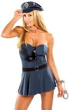 Police Officer Cop Highway Patrol Handcuffs Badge Belt Tie Cap Strapless Dress S