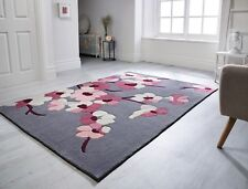 Infinite Blossom Charcoal Grey  Pink Floral Rug in various sizes and circle