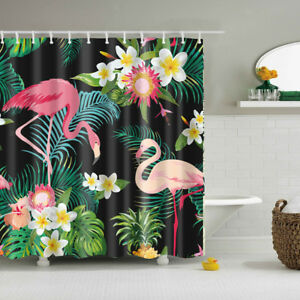 Bathroom Accessories Home Decor Shower Curtain with 12 Hooks Flamingo 2