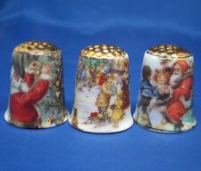 Birchcroft China Thimbles -- Set of Three -- Christmas Scenes Gold Top