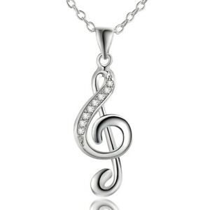 925 sterling Silver wedding crystal music charms Necklace Jewelry Fashion women