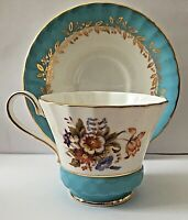 VINTAGE AYNSLEY BLUE AND FLORAL FINE BONE CHINA FOOTED TEA CUP AND SAUCER #295C