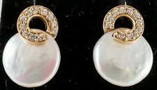 BUTTON  PEARL & DIAMOND EARRINGS 14K YELLOW GOLD