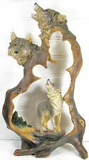 Timber Wolf in Wood looking frame Wilderness Hunter decor figurine