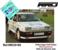 DECAL/CALCA 1/43; Volkswagen Golf Rallye; Rius-Casanovas; Rally de Alicante 1990