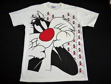 VINTAGE 90s Sylvester the Cat t shirt mens L allover print made USA looney tunes