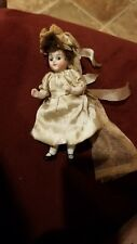 "Antique 4"" German Bisque Doll w Glass Eyes. Movable limbs. In Wedding Dress."