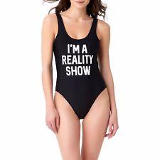 HOT TRENDY BLACK WHITE BATHING SUIT I'M A REALITY SHOW SIZE LG 11- SWIMSUIT BODY