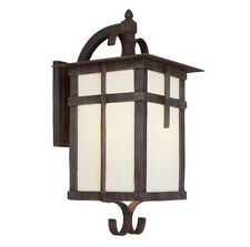 Bel Air Lighting 1-Light Rust Outdoor Wall Mount Lantern with Frosted Glass