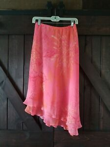 WOMENS UNBRANDED PINK FLORAL RUFFLED ANGLED LINED SKIRT SIZE 10 P