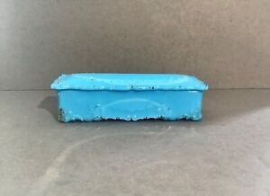 Antique Turquoise Milk Glass Opaline Rectangular Box