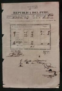 PERU official postal stampless document at Paita 1854 ship to Chiclayo via VAPOR