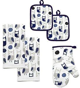 Tossed Owls 5Pc Kitchen Towel Set Pot Holder Oven Mitt White Black Gray Blue NIP