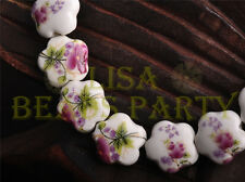 10pcs 15mm Flower Porcelain Ceramic Loose Spacer Beads Charms Violet Reddish