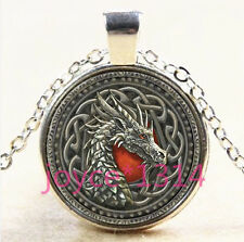 Vintage Celtic dragon Cabochon Tibetan silver Glass Chain Pendant Necklace #3671