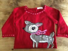 Next Baby Girls Retro Red Pink Reindeer Christmas Jumper 0-3 months BNWT RRP £14