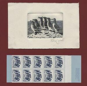 Sweden 1976 bird stamp engraving signed Zlatko Jakus Scott #1155a Auks