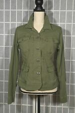LUCKY BRAND Women's Button Down Long Sleeve Military Jacket Olive Green Medium