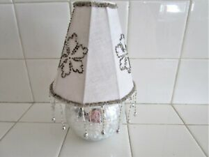 CRACKED SILVER TEA LIGHT CANDLE HOLDER BEADED SHADE BRAND NEW ZODAX
