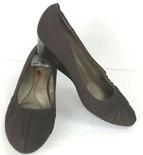 Soft Style Brown Wedge Heel Size 8.5 M Slip On Soft Delight Gathered Front
