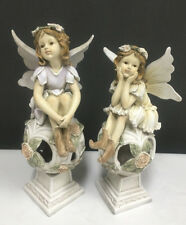Delightful Set Of 2 Fairies  Angels Sitting On Balls Ornaments Statues Figurines